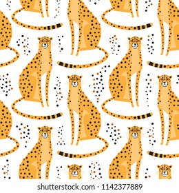Seamless pattern with cheetahs, leopards. Repeating exotic wild cats on a white background. Vector illustration.