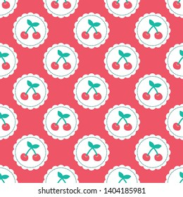 Seamless pattern with cherries and pink background