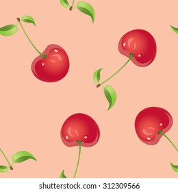 Seamless pattern with cherries. Vector illustration