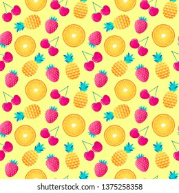 Seamless pattern with cherries,strawberries,pineapples and oranges.Surface pattern.