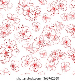 Seamless pattern of cherry blossoms, red on white