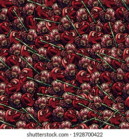 Seamless pattern of cherry, cartoon style, pink, berry, red, nature, organic, natural, berry, shop, gastronomy, eat, meal, eating, food, seamless, backdrop, summer, ossicle, seamless background, red
