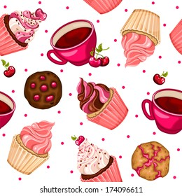 Seamless pattern with cherry cupcakes, coffee and cookies