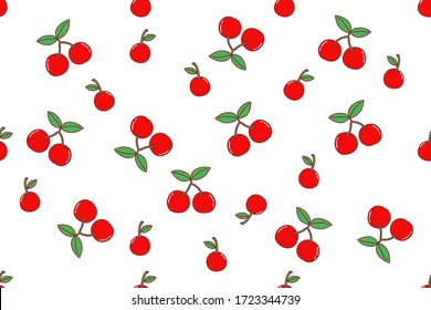 Seamless pattern with cherry. Fruit repeated background. Vector bright for fabric , print or wallpaper