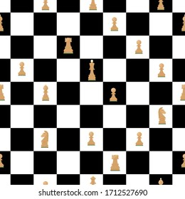 Seamless pattern of chess board with figures. Queen, king, knight, bishop, rook, pawn, horse. Black and white squares. Vector. wallpaper wrapping textile fabric
