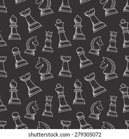 Seamless pattern with chess piece. For your design, textile, fabric, surface textures, packaging, scrapbooking, chess school or chess club. King, queen, pawn, bishop, knight and rook.