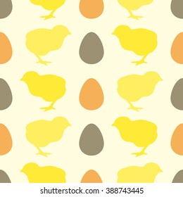 Seamless pattern with chick and egg. Vector illustration.