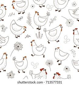 Seamless pattern with chicken cartoon on white background
