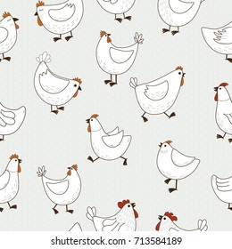 Seamless pattern with chicken cartoon on blue background