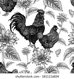 Seamless pattern. Chicken, rooster, hen, and sunflowers. Decorative background. Domestic bird. Farm animals series. Vector illustration of poultry. Black and white graphics. Vintage sketch.