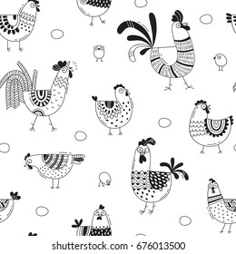 Seamless pattern with chickens, roosters, eggs in cartoon style, line art. Background for design cover product packaging, advertising banner, card.