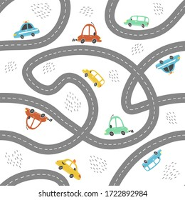 Seamless pattern of childish cartoon town, city map with road and cars for fabric, wallpaper, background design. Cute baby, child vector illustration.