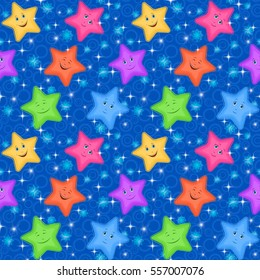 Seamless Pattern for Childish and Holiday Design, Colorful Cartoon Stars Smiley and Rings on Blue Background. Vector