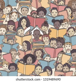 """Seamless pattern of children reading colorful books, """"back to school"""" vector background with diverse school kids"""