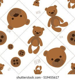 Seamless pattern for children. Soft teddy bears and buttons.