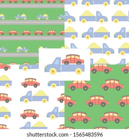 Seamless pattern with children`s multicolored toy cars in cartoon style.