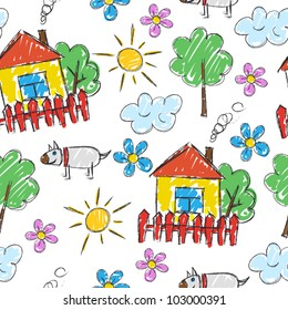 Seamless pattern of the children's painting (background)