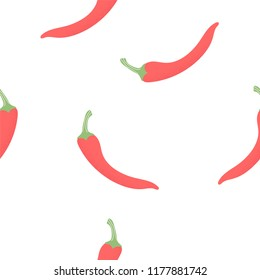 Seamless pattern Chili pepper doodles hand drawn on white Background.printing wallpaper.vector illustration