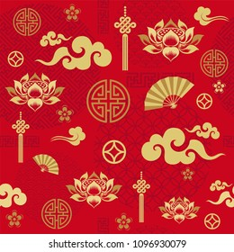 Seamless pattern with Chinese and asian elements.