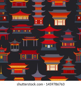 Seamless pattern of Chinese buildings and temples on a dark background