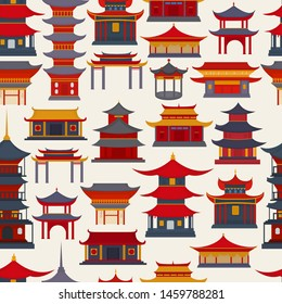 Seamless pattern of Chinese buildings and temples on a light background