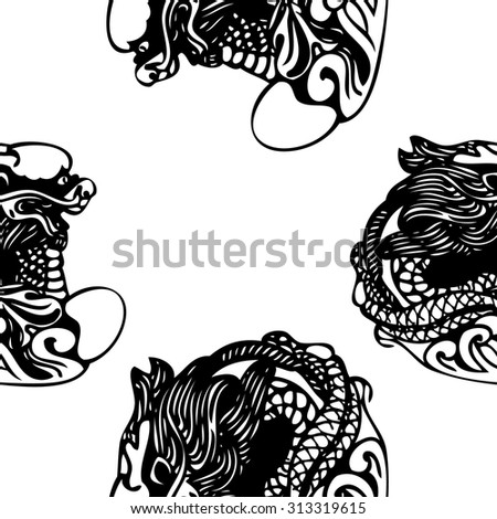 seamless pattern chinese dragons template design stock vector