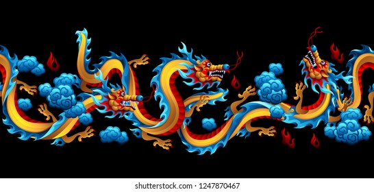 Seamless pattern with Chinese dragons. Traditional China symbol. Asian mythological color animals.