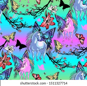 Seamless pattern with chinese motifs - unicorns, fairies and flowers. Vector illustration