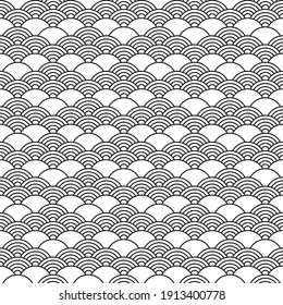 Seamless pattern in chinese style. Black and white oriental background.