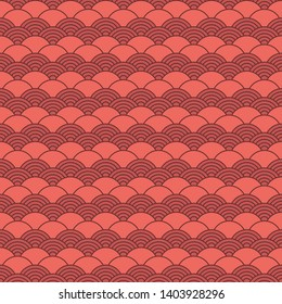 Seamless pattern in chinese style. Coral color oriental background.