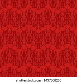Seamless pattern in chinese style. Dark red oriental background.