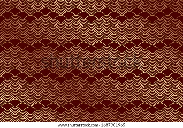Seamless pattern in chinese style. Red oriental background with golden waves.