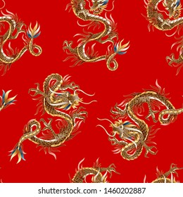 Seamless pattern with Chinese traditional dragon. vector