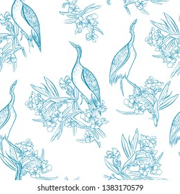 Seamless Pattern Chinoiserie Chic Blue and White Oriental Chinese Design Jungle Tropical Tress and Exotic Birds Heron in Blooming Flowers Ink Outlines