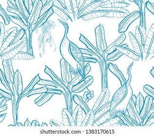 Seamless Pattern Chinoiserie Chic Blue and White Oriental Chinese Design Jungle Tropical Tress and Exotic Birds Heron