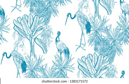 Seamless Pattern Chinoiserie Chic Blue and White Oriental Chinese Design Jungle Tropical Trees and Exotic Birds Cranes in Palms
