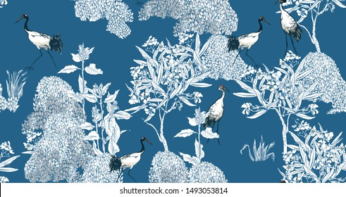 Seamless Pattern Chinoiserie Chic Blue and White Oriental Chinese Design  Tropical Floral Trees and Exotic Birds Cranes in Oleander Flowers Outline Drawing