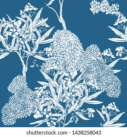 Seamless Pattern Chinoiserie Chic Chinese Blue and White Print Exotic Flowers Oleander Blooming Trees Tropical Leaves Oriental Porcelain Design China Asian Illustration Cobalt Background