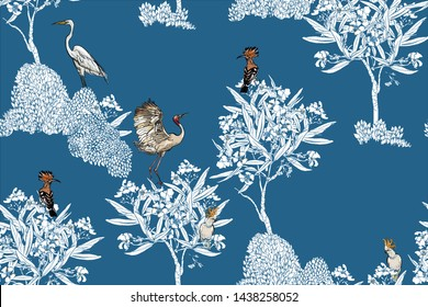 Seamless Pattern Chinoiserie Chic Chinese Blue and White Porcelain Print Exotic Birds in Oleander Blooming Floral Trees Monochrome Design Oriental Asian Illustration One Color on Blue Background