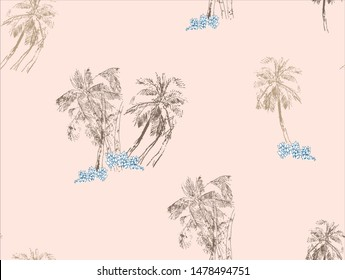 Seamless Pattern Chinoiserie Chic Chinese Nude Colors Print Palm Trees in Jungle Islands Tropical Monochrome Design Oriental Asian Illustration One Color on Beige Background