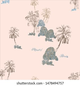 Seamless Pattern Chinoiserie Chic Chinese Nude Colors Print Palm Trees in Tropics Monochrome Design Oriental Asian Illustration Isolated Island in the Sea Pink Background
