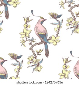 Seamless pattern in chinoiserie style with birds, peonies, branch and leaves. Vector hand drawing illustration. Colorful on white background.
