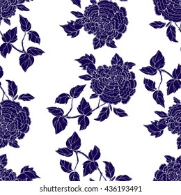 Seamless pattern in the chinoiserie style with blue peonies, on white  background for wedding, scrapbooking, wallpaper and other design.  Chinese Peony.