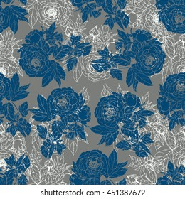 Seamless pattern in the chinoiserie style with blue peonies, on grey background for wedding, scrapbooking, wallpaper and other design. Chinese Peony.