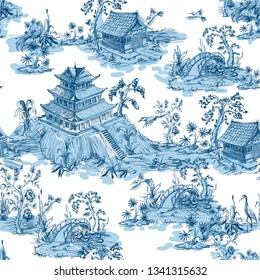 Seamless pattern in chinoiserie style for fabric or interior design.