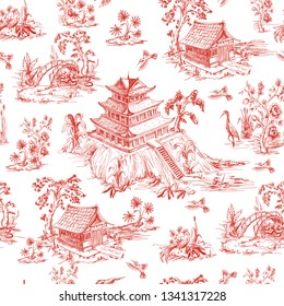 Seamless pattern in chinoiserie style for fabric or interior design