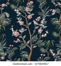 Seamless pattern in chinoiserie style with herons, birds and peonies. Vector,