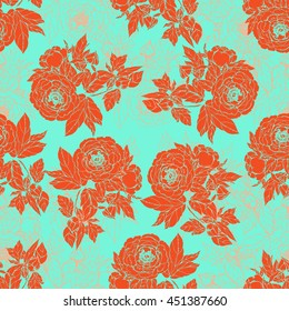 Seamless pattern in the chinoiserie style with orange peonies, on green background for wedding, scrapbooking, wallpaper and other design. Chinese Peony.