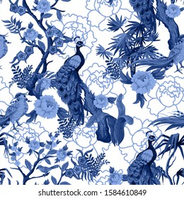 Seamless pattern in chinoiserie style with  peacock, birds and peonies in blue color. Vector,