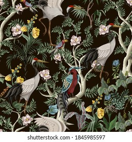 Seamless pattern in chinoiserie style with peonies and birds. Vector interior print.